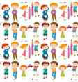 seamless background with happy kids vector image