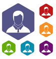 manager icons set vector image vector image