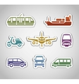 flat retro color stickers - set three vector image vector image