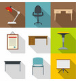 workplace icons set flat style vector image
