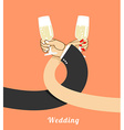 Wedding bride and groom drink champagne on vector image
