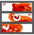 Banners with rooster symbol of 2017 by Chinese vector image