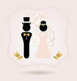 black and golden abstract bride and groom symbol vector image