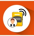 character man tape recorder icon vector image