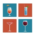 cocktails glasses drink black background vector image