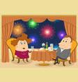 gentleman and lady in restaurant vector image