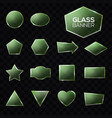 glass plates set green triangle square star heart vector image