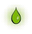 Green water drop comics icon vector image