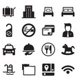 icons for hostels and hotels set silhouette vector image