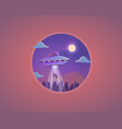 ufo flying saucer cartoon vector image