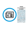 Euro Newspaper Rounded Icon with 1000 Bonus Icons vector image