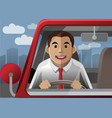 smile driver at the city vector image vector image