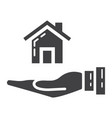 home in hand glyph icon business and finance buy vector image