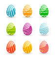 Easter set colorful ornamental eggs isolated on vector image