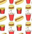 Sketch fast food in vintage style vector image
