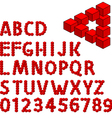 three dimension alphabet set vector image vector image