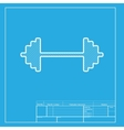 Dumbbell weights sign White section of icon on vector image
