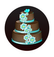 big delicious chocolate cake vector image