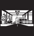 forklifts distribute pallets in warehouse vector image