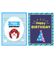 happy birthday set of cards vector image