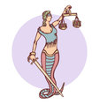 Isolated cartoon evil snake lady justice vector image