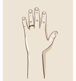 Man hand wearing a wedding ring drawing vector image