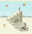 Man up the stairs with flag one with bicycle and vector image