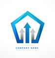 arrow lead blue business style logo template vector image
