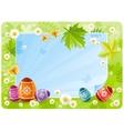 Happy Easter banner border Spring scene green vector image