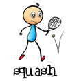 A stickman playing tennis vector image vector image