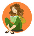 cartoon cute girl reading book in vector image