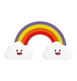 cute rainbow with clouds character vector image