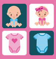 cute set for baby shower girl and boy clothes vector image