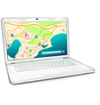 Modern laptop with city map on display vector image