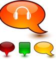headphones speech comic icons vector image