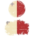 Maltese round and square grunge flags vector image
