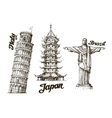 Travel Hand drawn sketch Italy Japan Brazil vector image