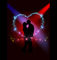 Lovers inside the sparkling heart vector image