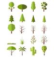 Flat trees set vector image
