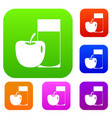 glass of drink and apple set color collection vector image