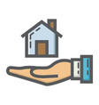 home in hand filled outline icon business finance vector image