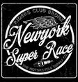 newyork typography vintage motorcycle t-shirt vector image