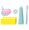 Set Of Toothpaste Dental Floss Toothbrush vector image
