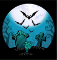 creepy zombie hand and grave Halloween vector image