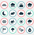 climate icons set collection of nightly moisture vector image