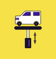 flat icon design collection car on the lift vector image vector image