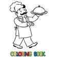 Funny cook or chef with tray Coloring book vector image