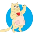 cat with a cup vector image