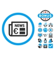 Euro Newspaper Flat Icon with Bonus vector image