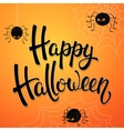 Halloween greeting card with angry spiders vector image